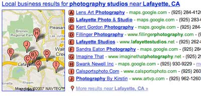 Google Local listings for photographers.