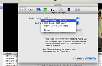 itunes setting import
